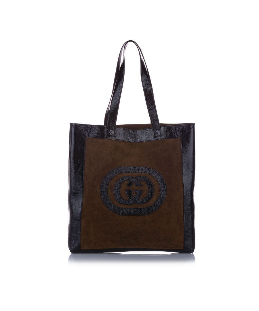 Image for Vintage Gucci Large Ophidia Suede Tote Bag Brown