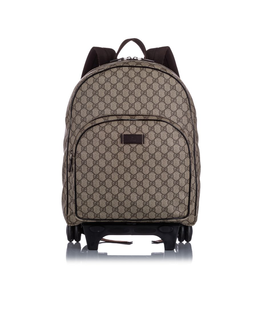 Image for Gucci Kids GG Supreme Rolling Backpack Brown