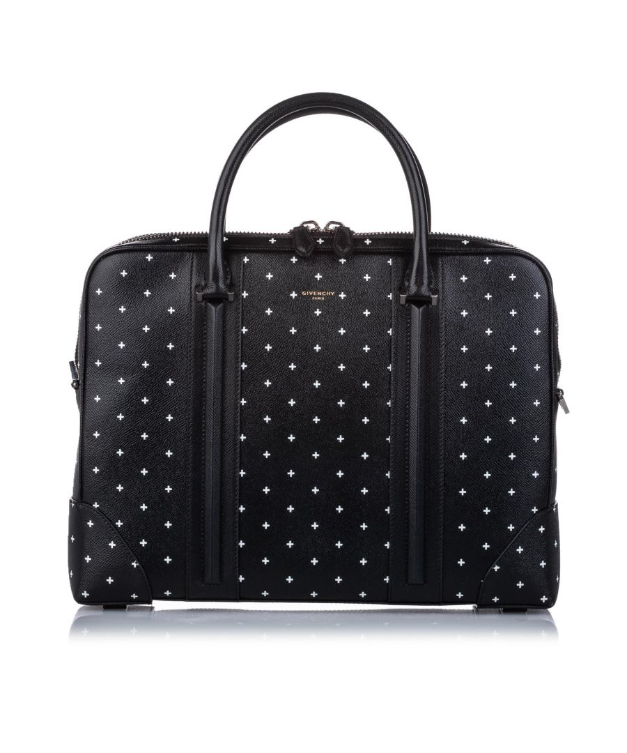 Image for Vintage Givenchy Printed Leather Briefcase Black