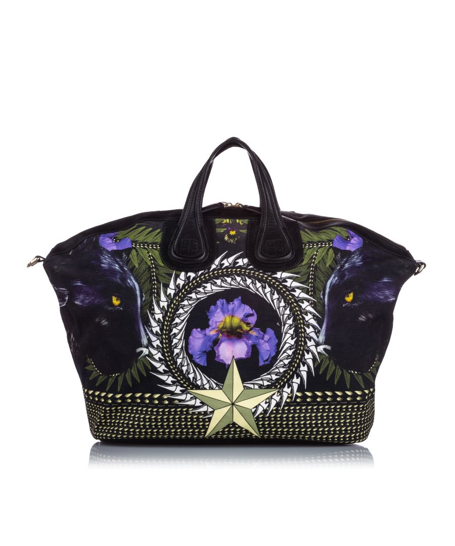 Image for Givenchy Iris Print Canvas Nightingale Satchel Black