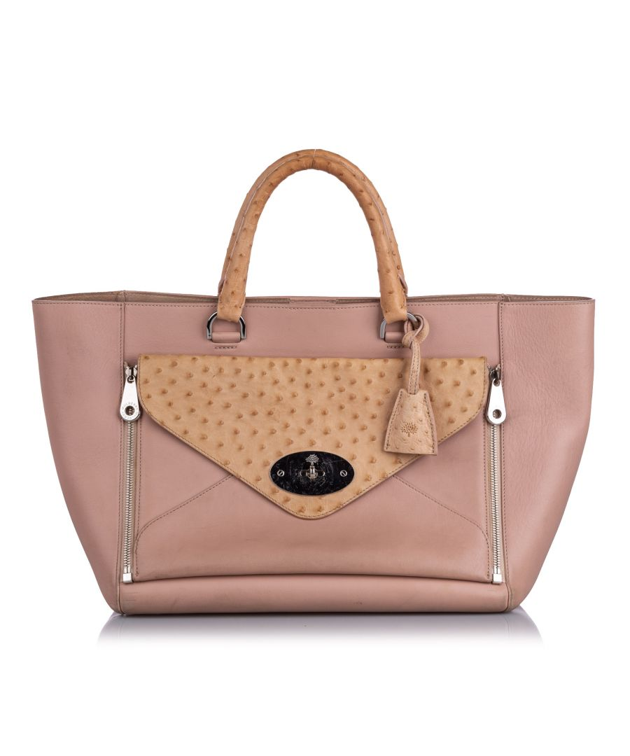 Image for Vintage Mulberry Ostrich-Trimmed Willow Tote Bag Pink