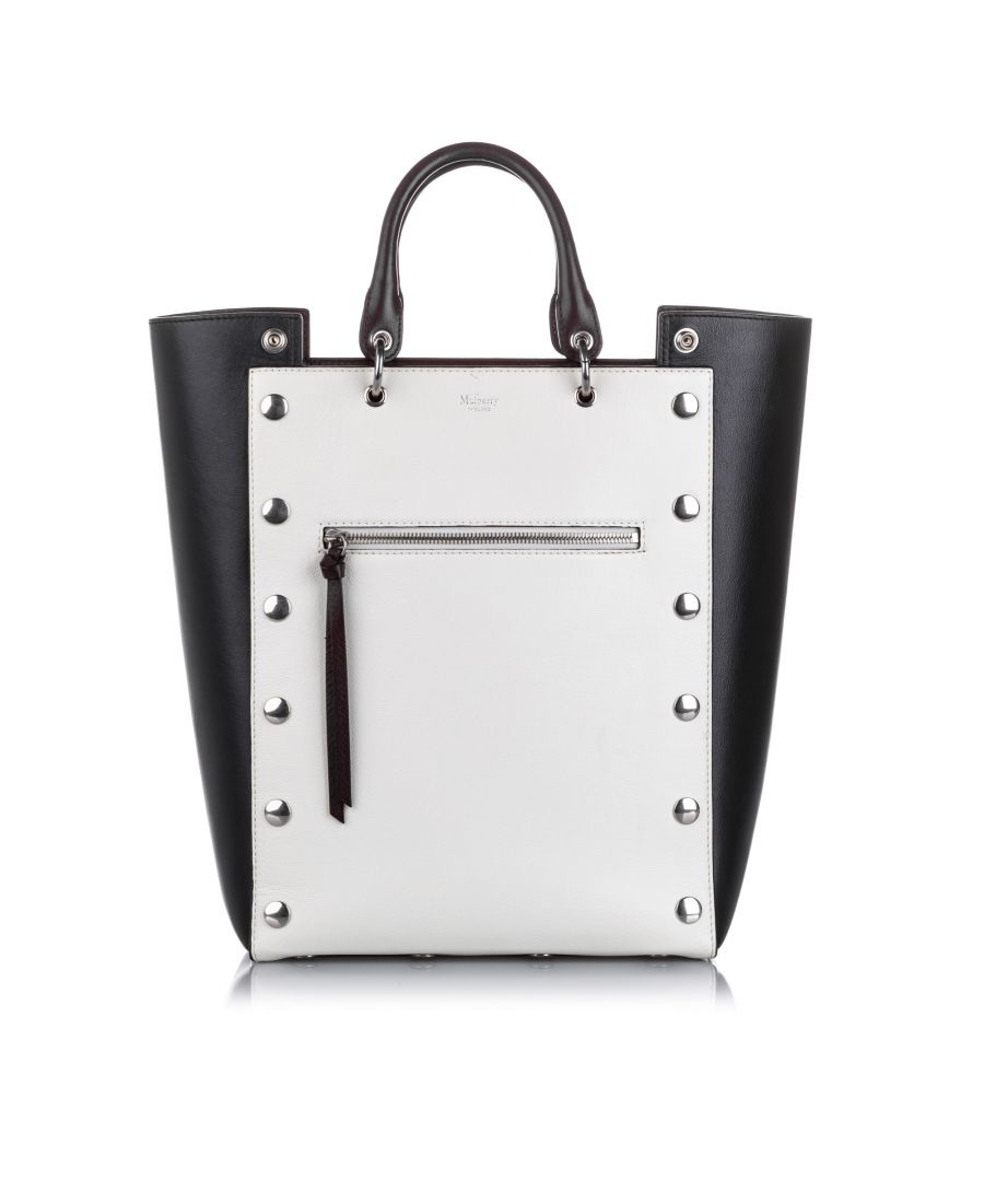 Image for Vintage Mulberry Large Studded Maple Leather Tote Bag White