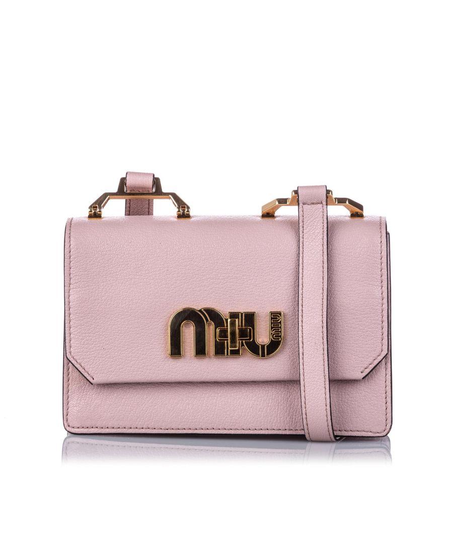 Image for Vintage Miu Miu My Miu Leather Crossbody Bag Pink