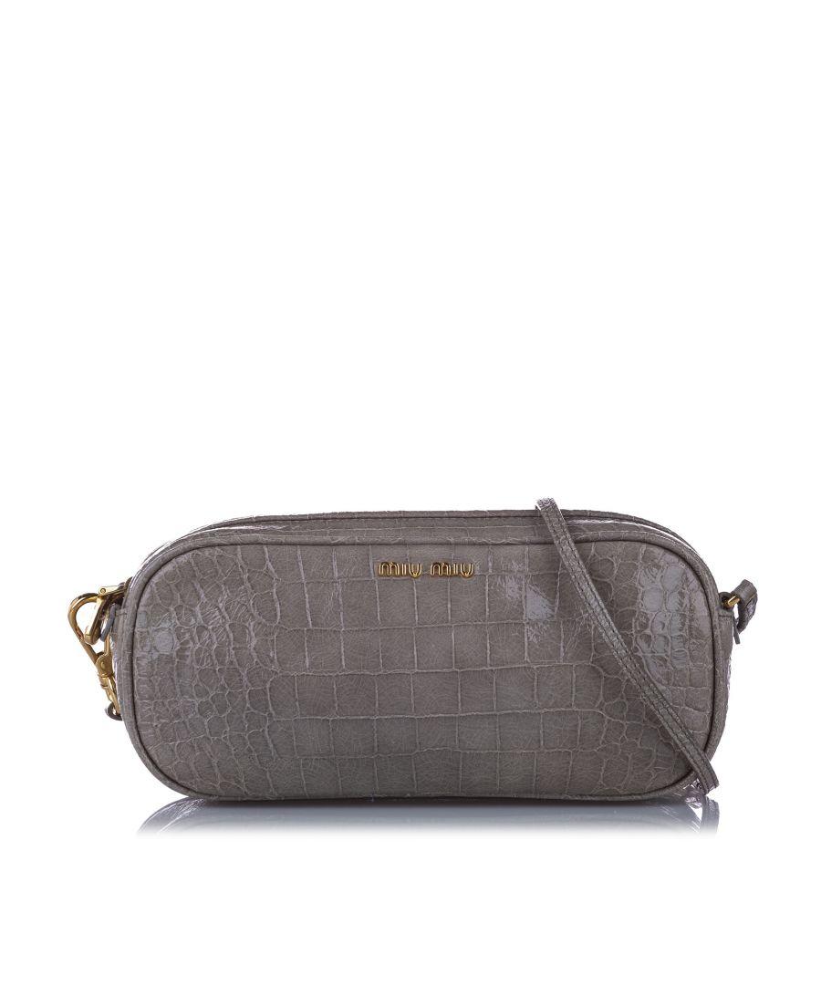 Image for Vintage Miu Miu Croc Embossed Leather Crossbody Bag Gray