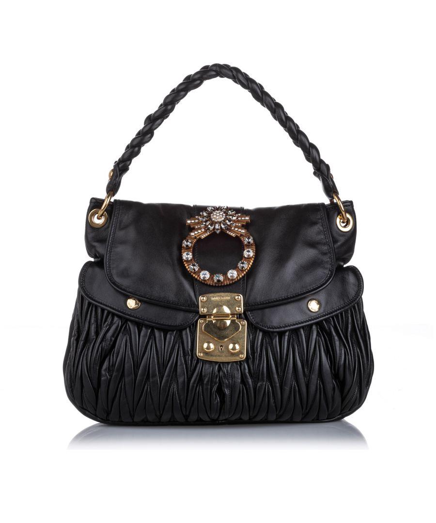 Image for Miu Miu Leather Coffer Handbag Black