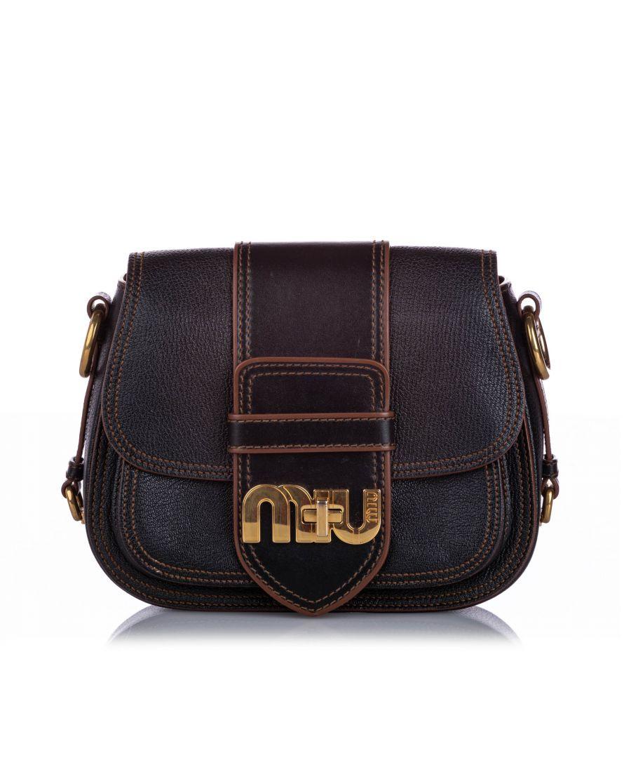 Image for Miu Miu Miu Leather Crossbody Bag Black