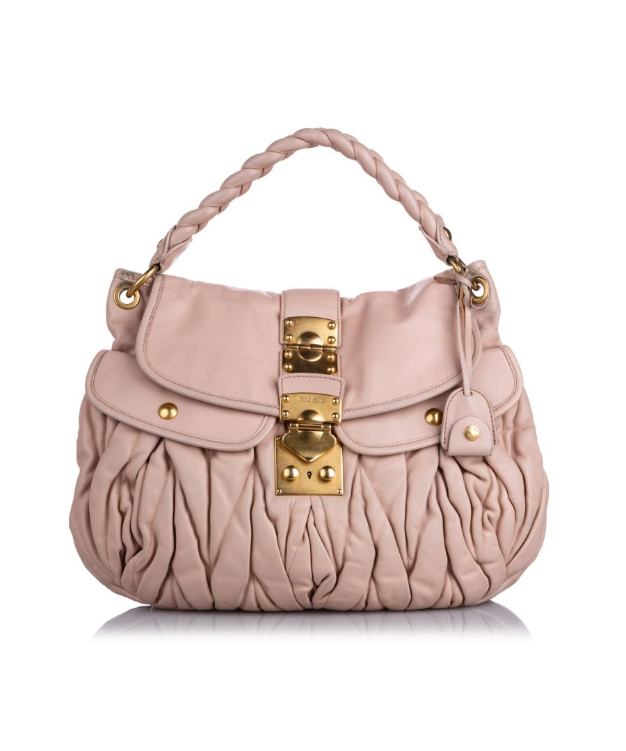 Image for Vintage Miu Miu Leather Coffer Satchel Pink