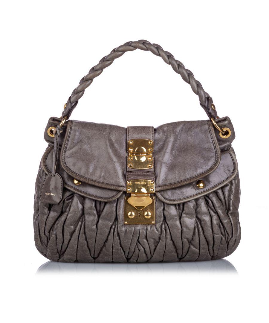 Image for Vintage Miu Miu Leather Coffer Satchel Gray