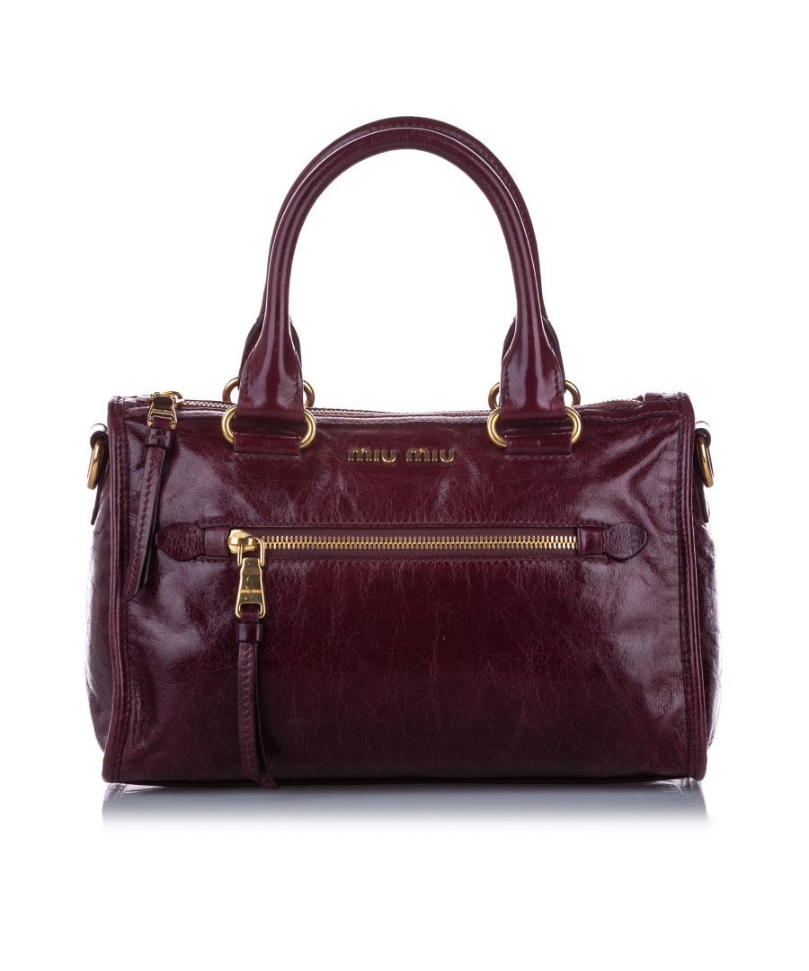 Image for Vintage Miu Miu Vitello Shine Satchel Red