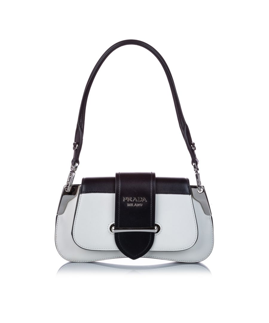 Image for Vintage Prada Sidonie Leather Baguette White