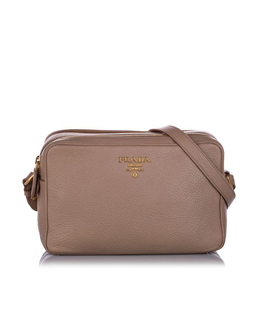 Image for Vintage Prada Vitello Phenix Crossbody Bag Brown