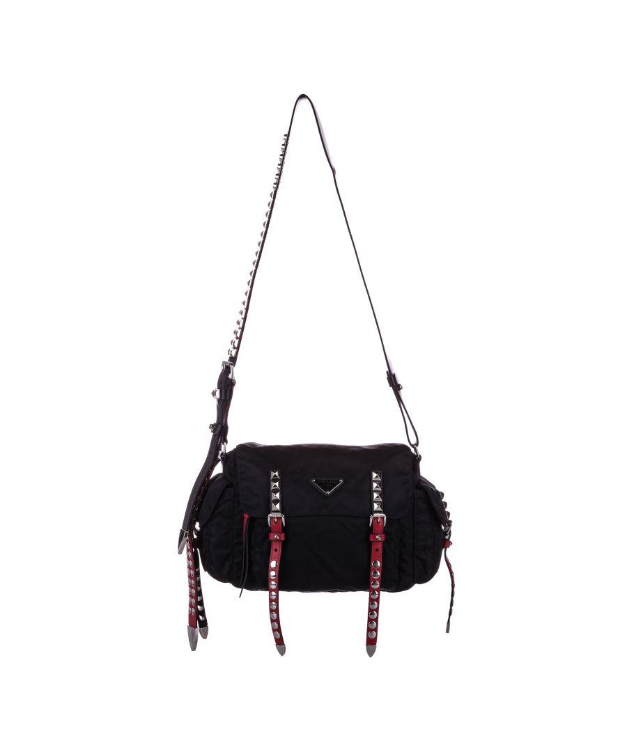 Image for Vintage Prada Studded New Vela Crossbody Bag Black