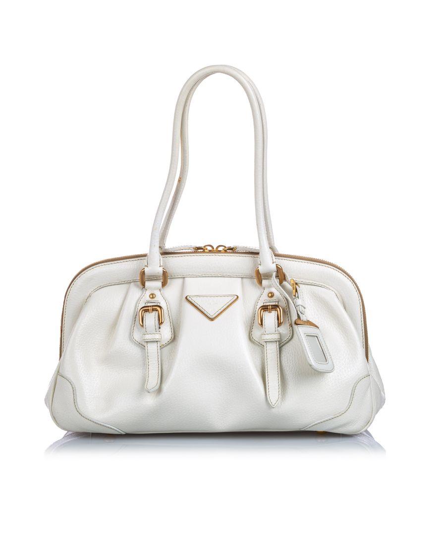 Image for Vintage Prada Cinghiale Frame Shoulder Bag White