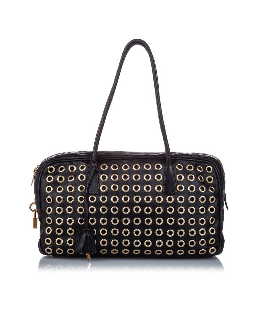Image for Vintage Prada Grommet Leather Shoulder Bag Black