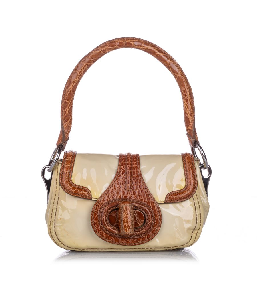 Image for Vintage Prada Vernice Cocco Pattina Sottospalla Handbag White
