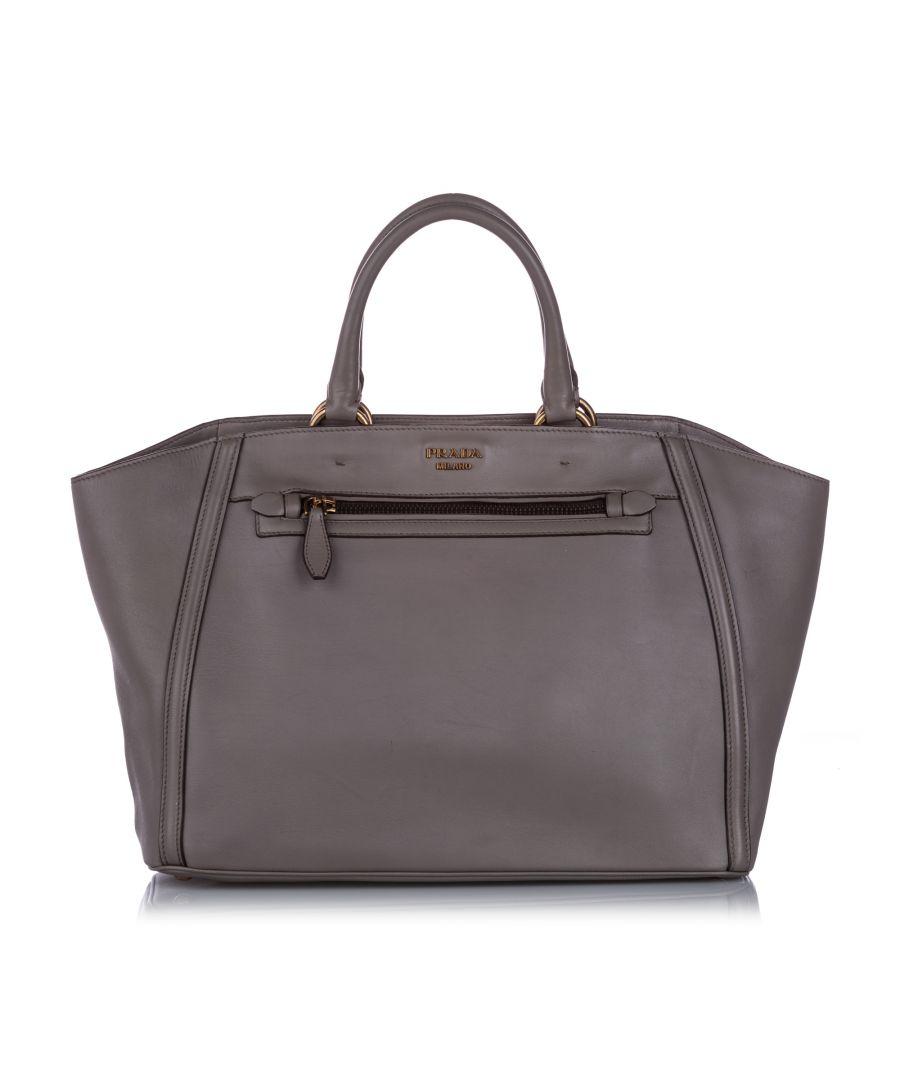 Image for Vintage Prada Leather Handbag Gray