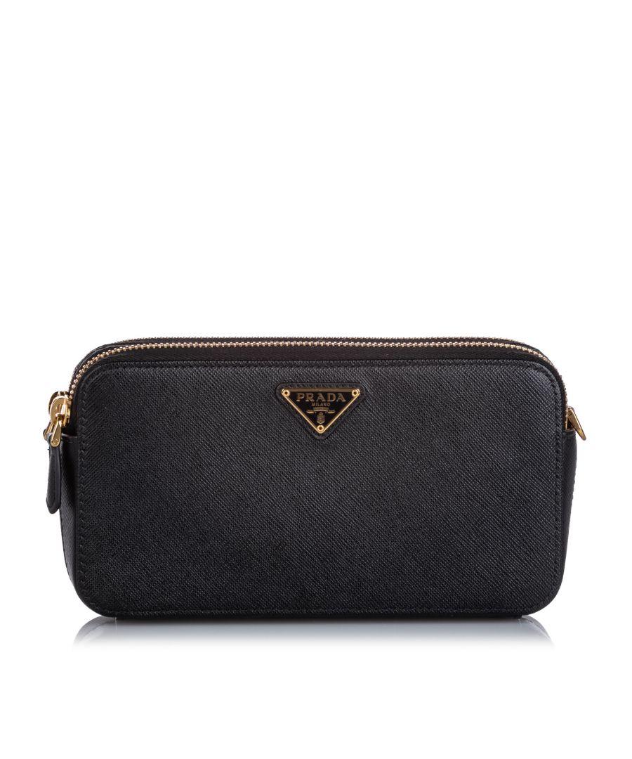 Image for Prada Saffiano Wallet on Chain Black
