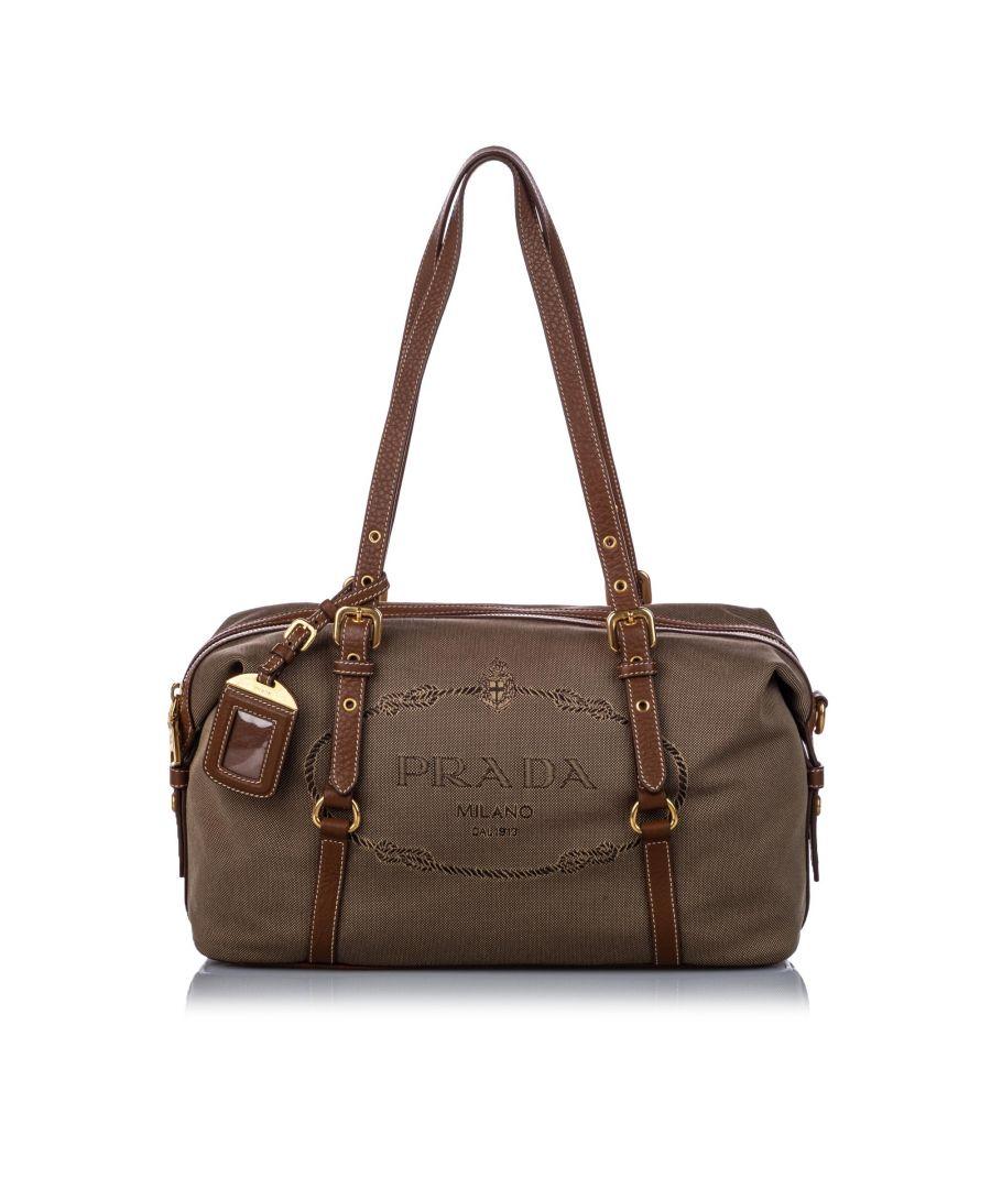 Image for Vintage Prada Canapa Canvas Shoulder Bag Brown