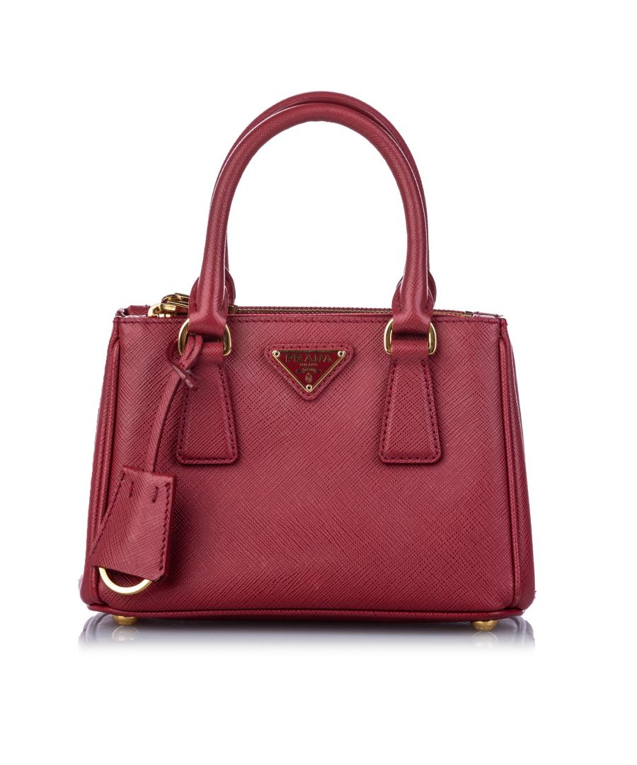 Image for Vintage Prada Mini Saffiano Lux Galleria Double Zip Satchel Red