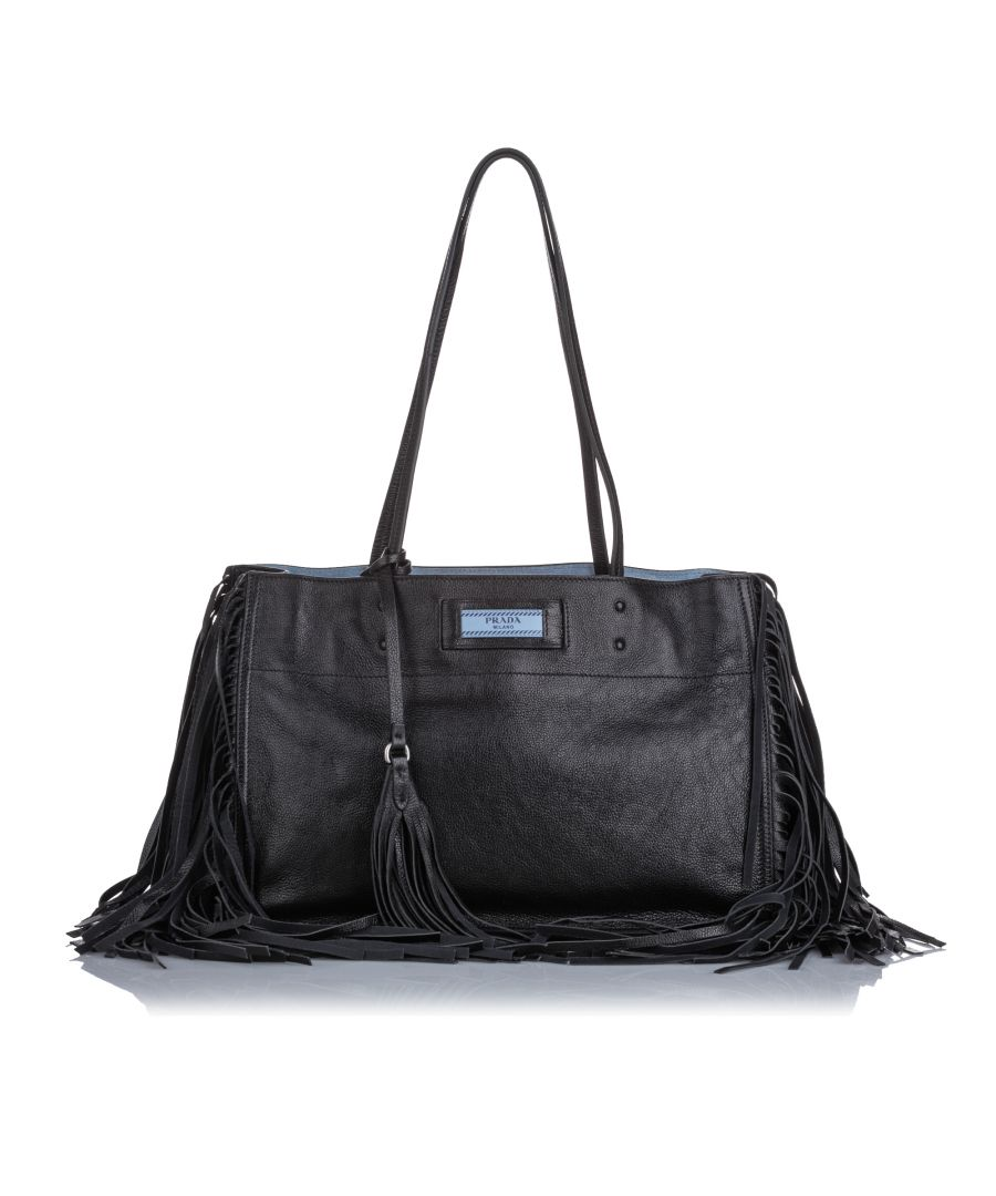 Image for Prada Leather Etiquette Fringe Tote Bag Black