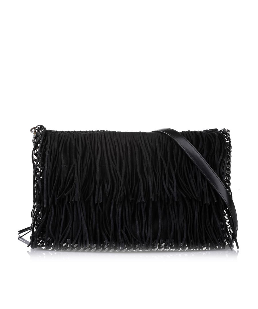 Image for Vintage Stella McCartney Shaggy Deer Falabella Fringe Crossbody Bag Black