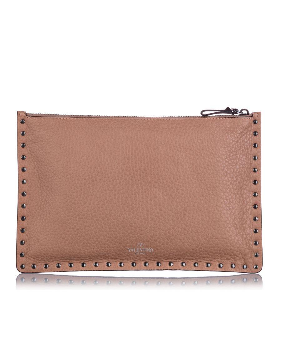 Image for Vintage Valentino Rockstud Clutch Bag Brown