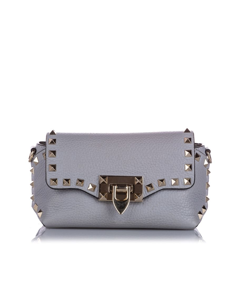 Image for Vintage Valentino Mini Rockstud Leather Crossbody Bag Gray