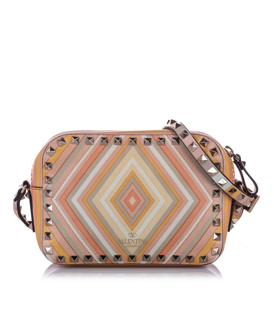 Image for Vintage Valentino Rockstud Printed Leather Crossbody Bag Multi
