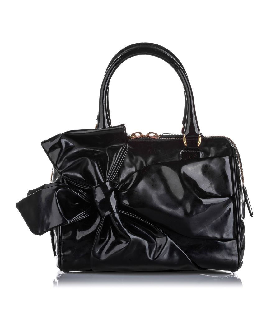 Image for Vintage Valentino Lacca Bow Patent Leather Handbag Black