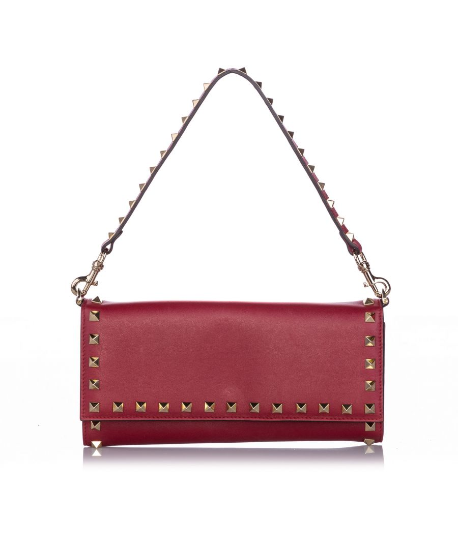 Image for Valentino Rockstud Leather Wallet on Strap Red