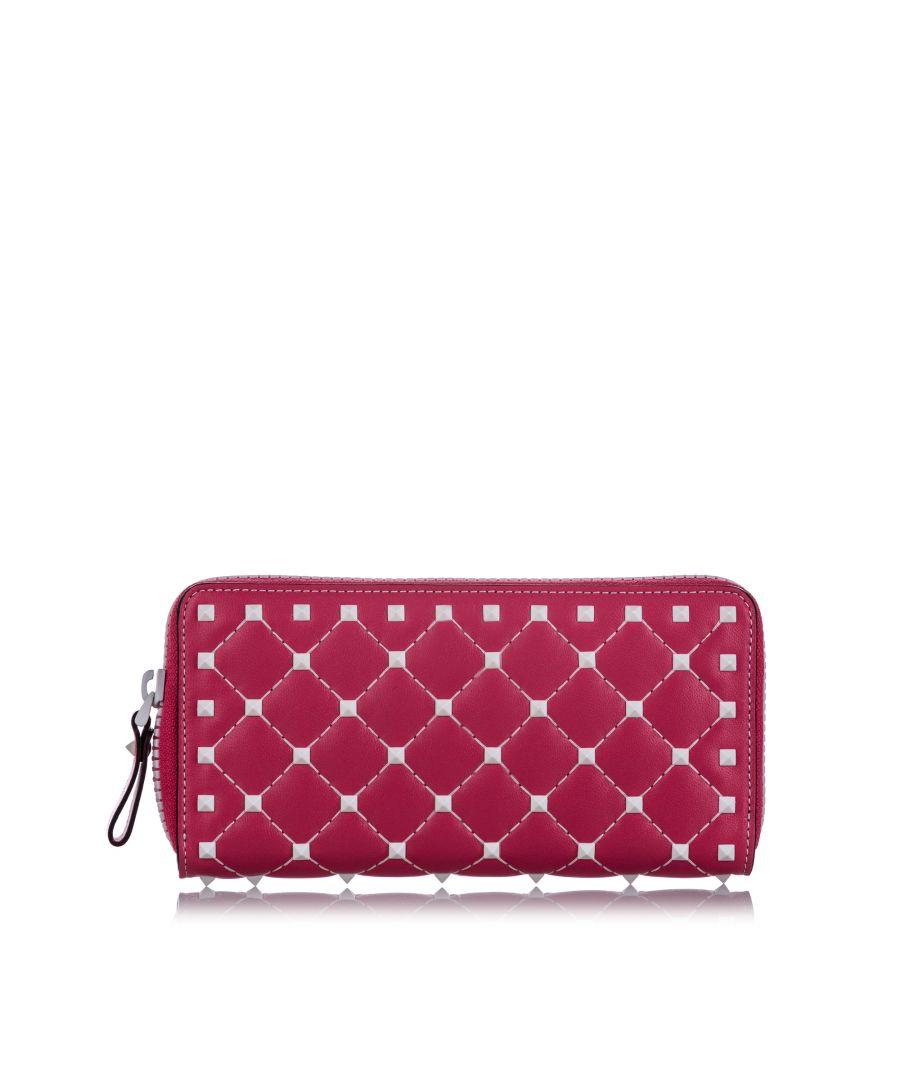 Image for Vintage Valentino Rockstud Spike Leather Wallet Pink