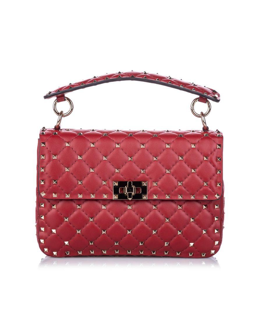 Image for Vintage Valentino Medium Rockstud Spike Satchel Red