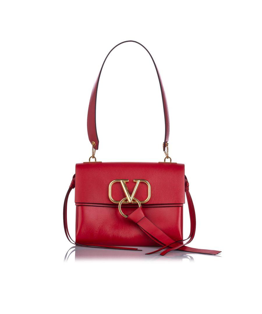 Image for Valentino VRing Leather Shoulder Bag Red