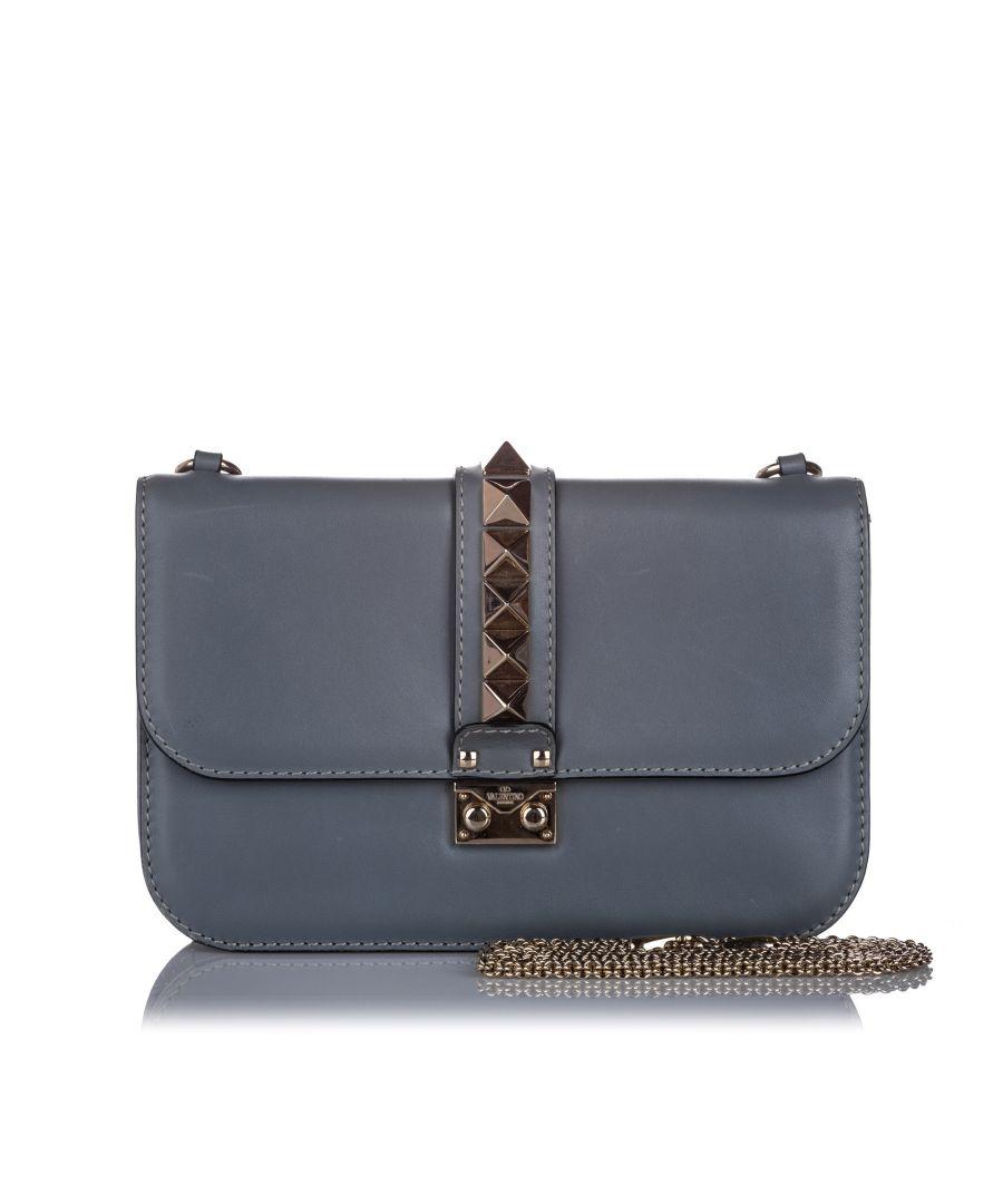 Image for Vintage Valentino Medium Rockstud Glam Lock Shoulder Bag Gray