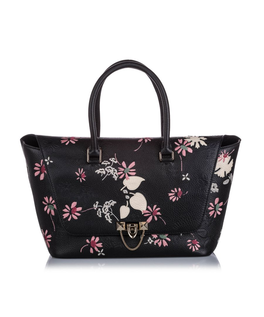 Image for Valentino Embroidered Leather Demilune Satchel Black