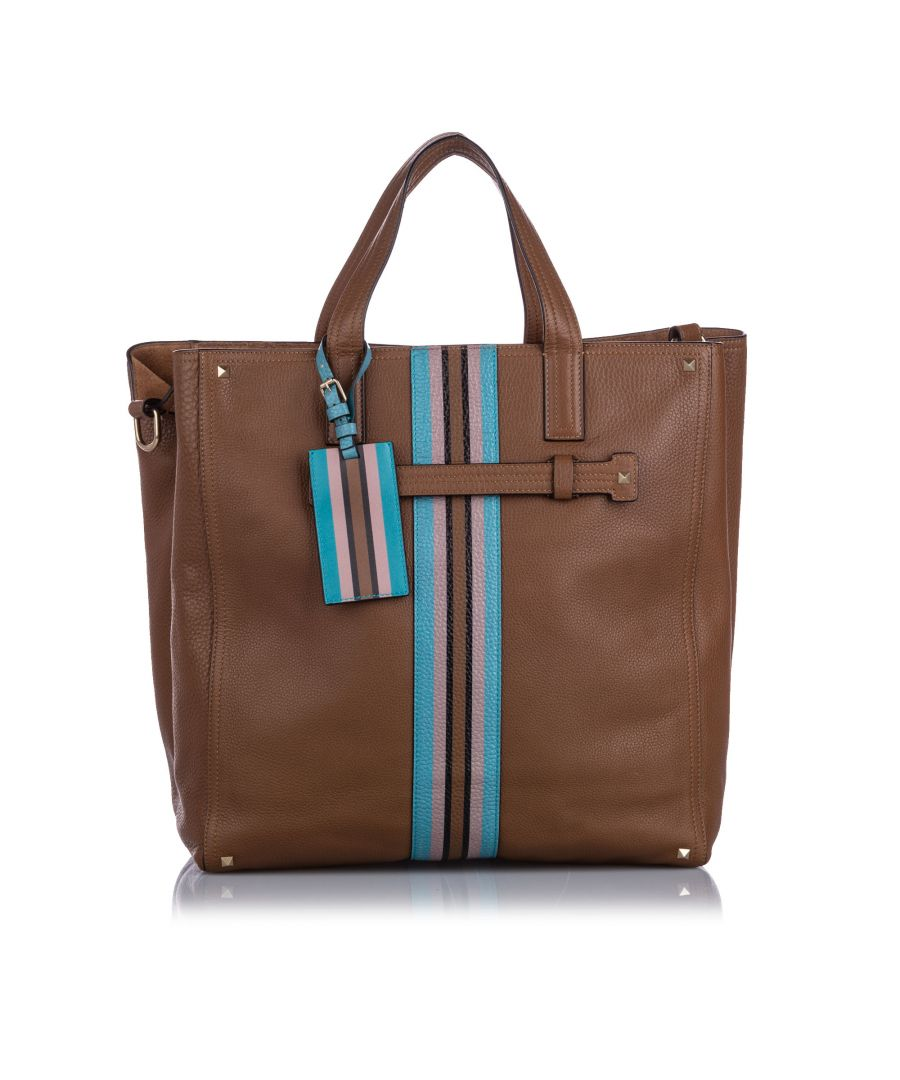 Image for Valentino Rockstud Stripe Leather Satchel Brown