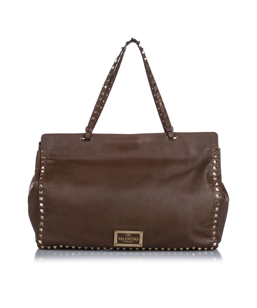 Image for Vintage Valentino Rockstud Leather Tote Bag Brown