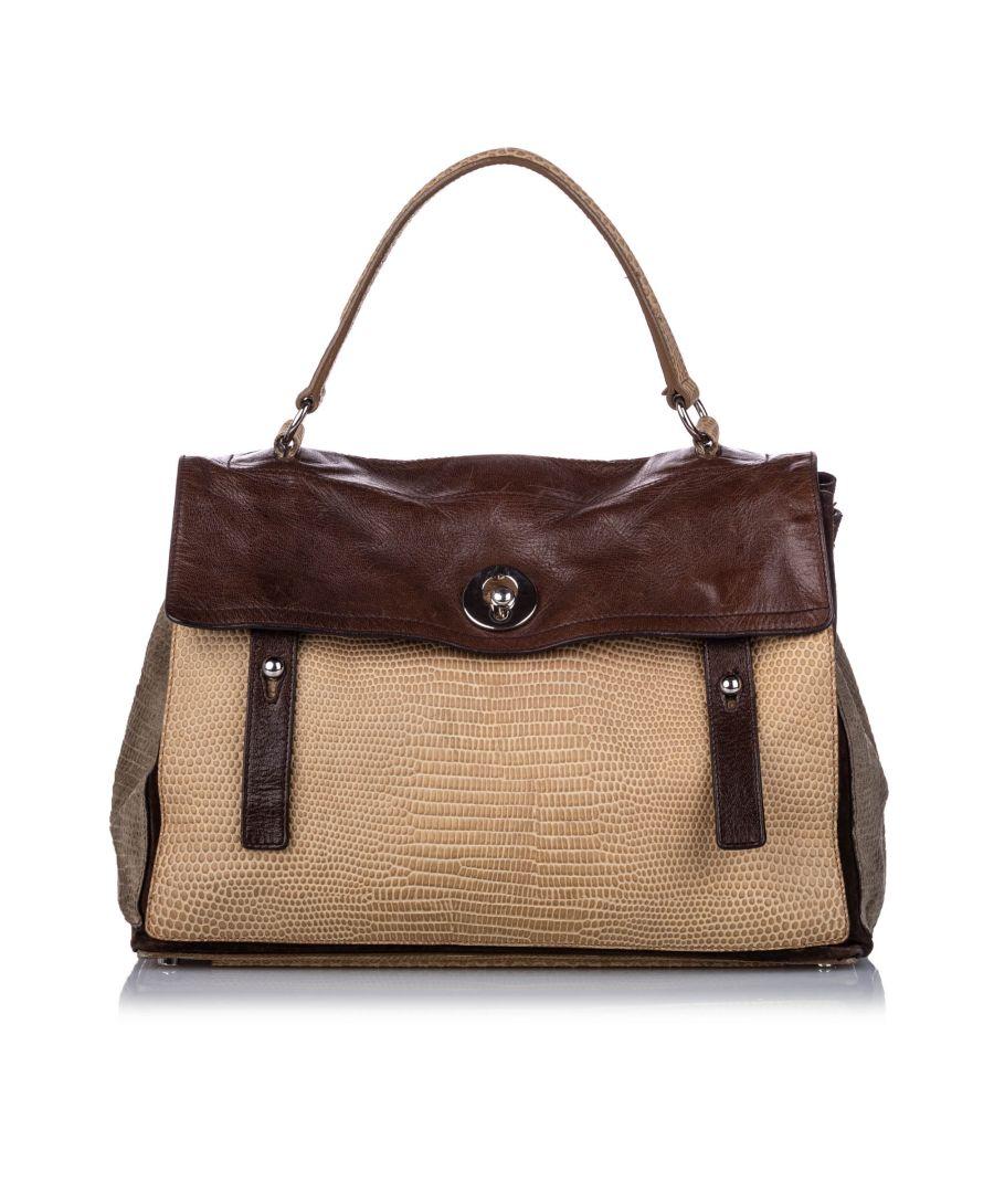 Image for Vintage YSL Embossed Leather Muse Two Handbag Brown