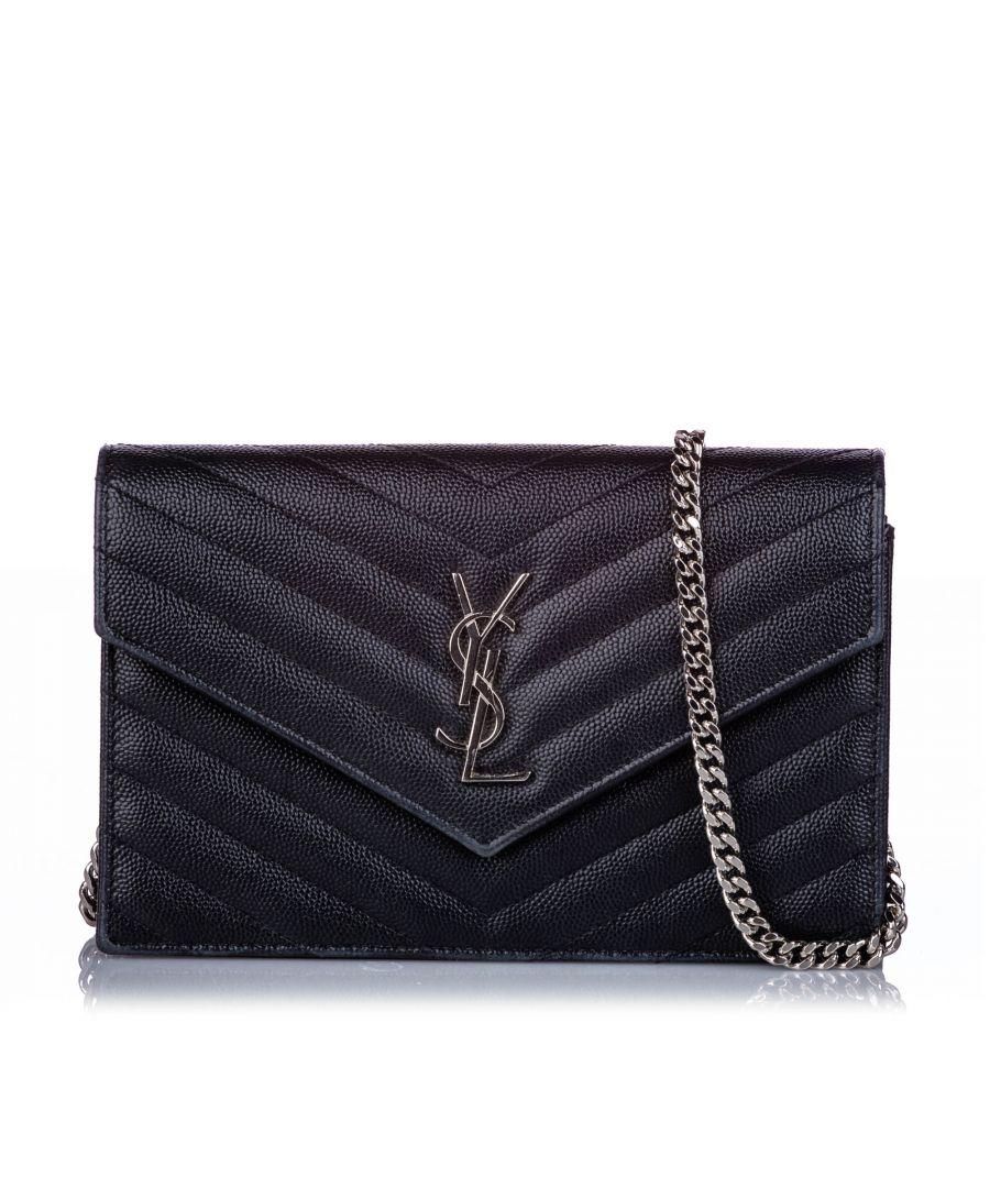 Image for Vintage YSL Small Monogram Matelasse Envelope Wallet On Chain Black
