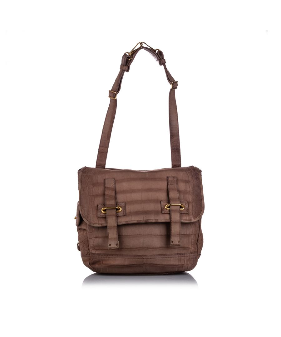 Image for Vintage YSL Embossed Leather Besace Flap Bag Brown
