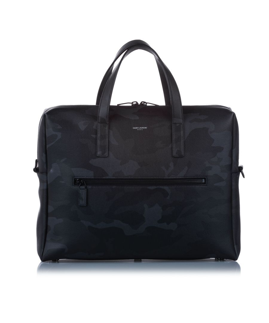Image for Vintage YSL Camouflage Leather Business Bag Black