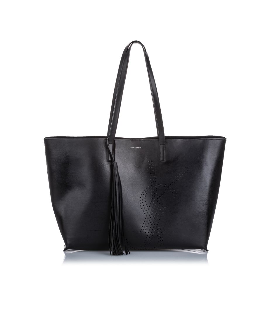 Image for YSL Perforated Leather Shopping Tote Black