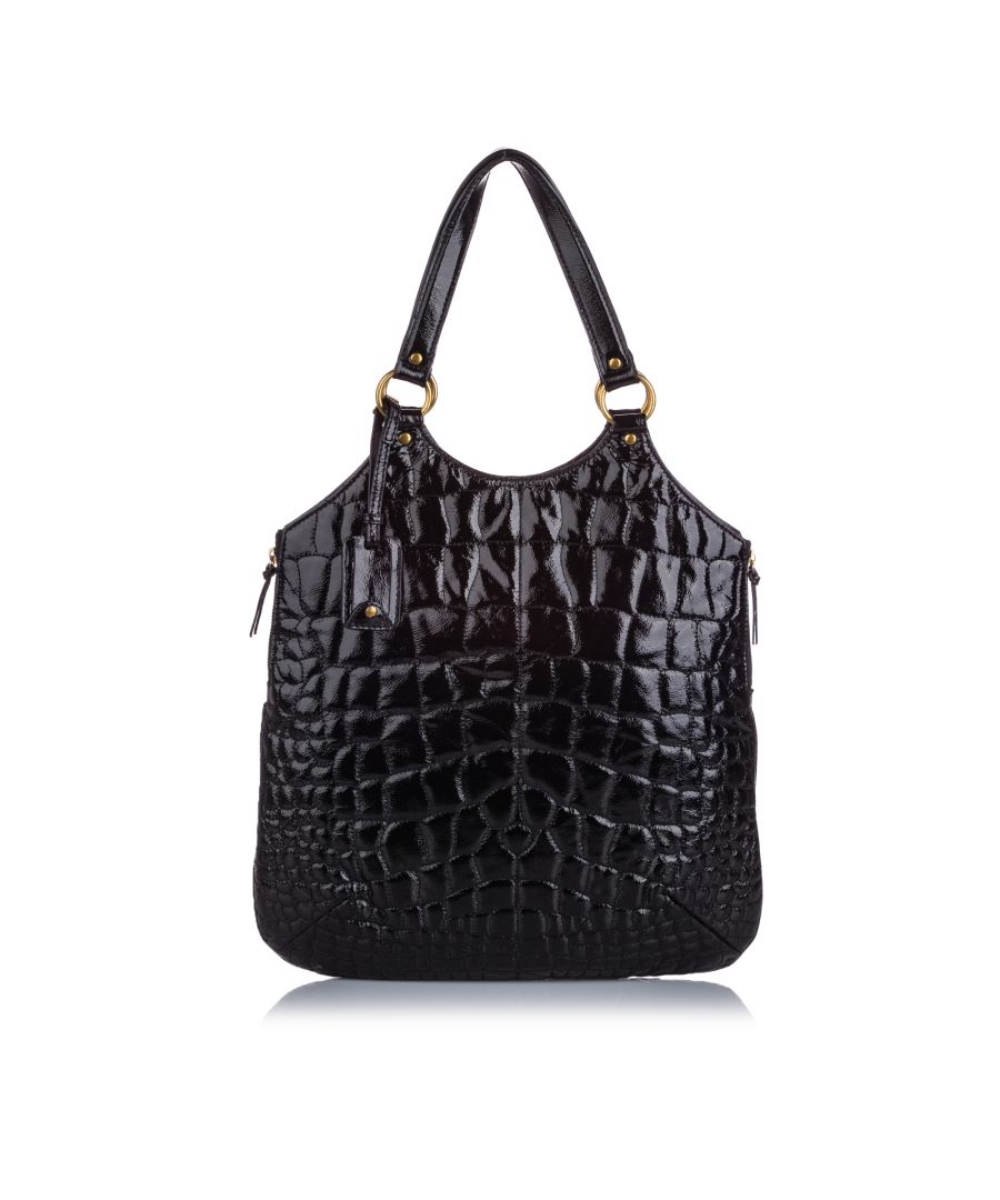Image for YSL Quilted Patent Leather Tribute Tote Bag Black