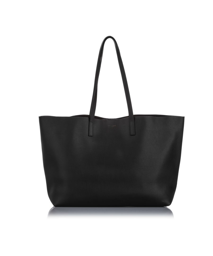Image for Vintage YSL East West Leather Shopping Tote Bag Black