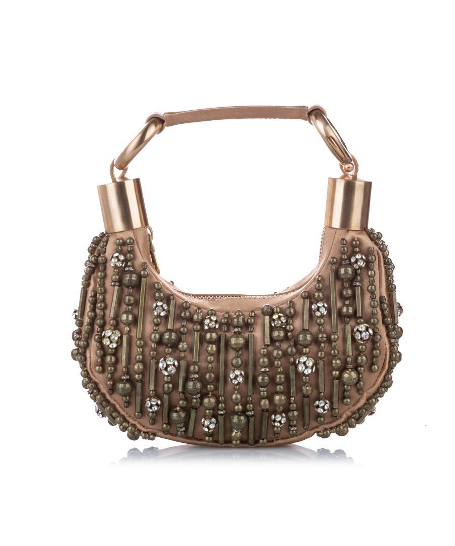 Image for Vintage Chloe Beaded Bracelet Leather Baguette Brown