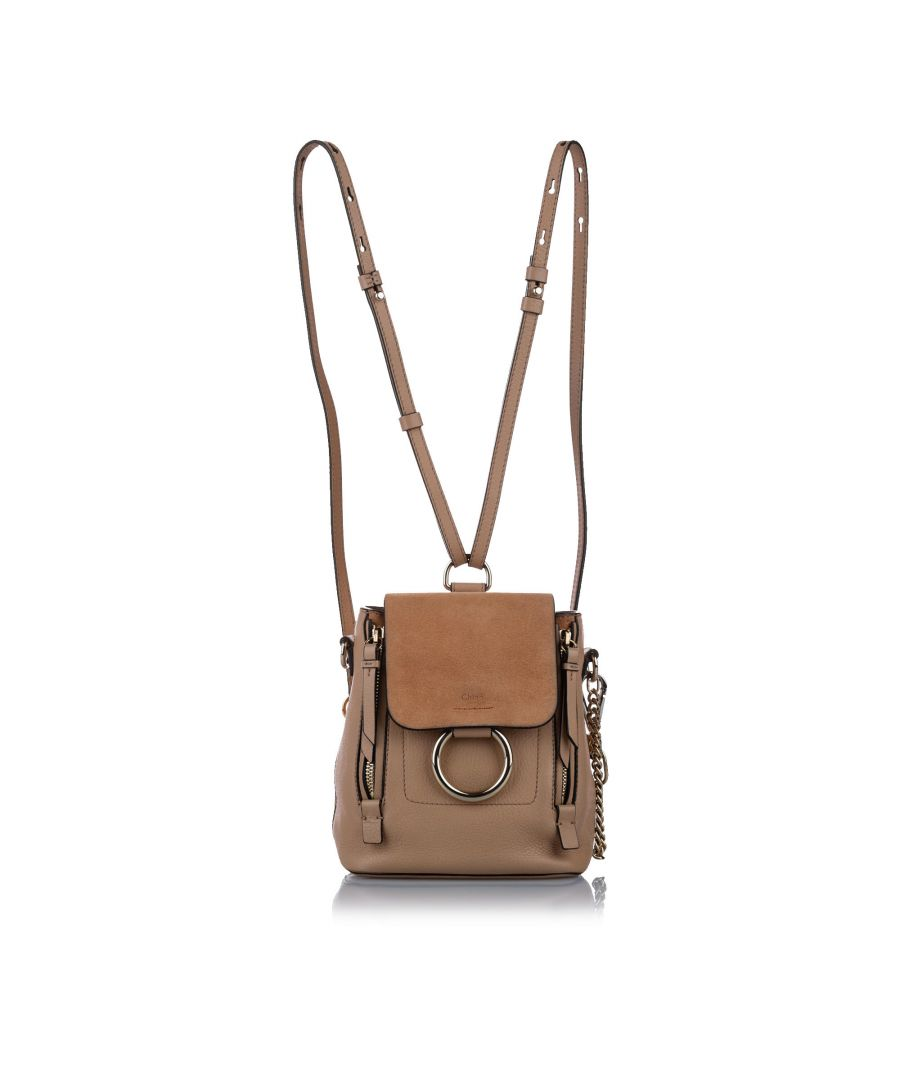 Image for Vintage Chloe Mini Faye Leather Backpack Brown