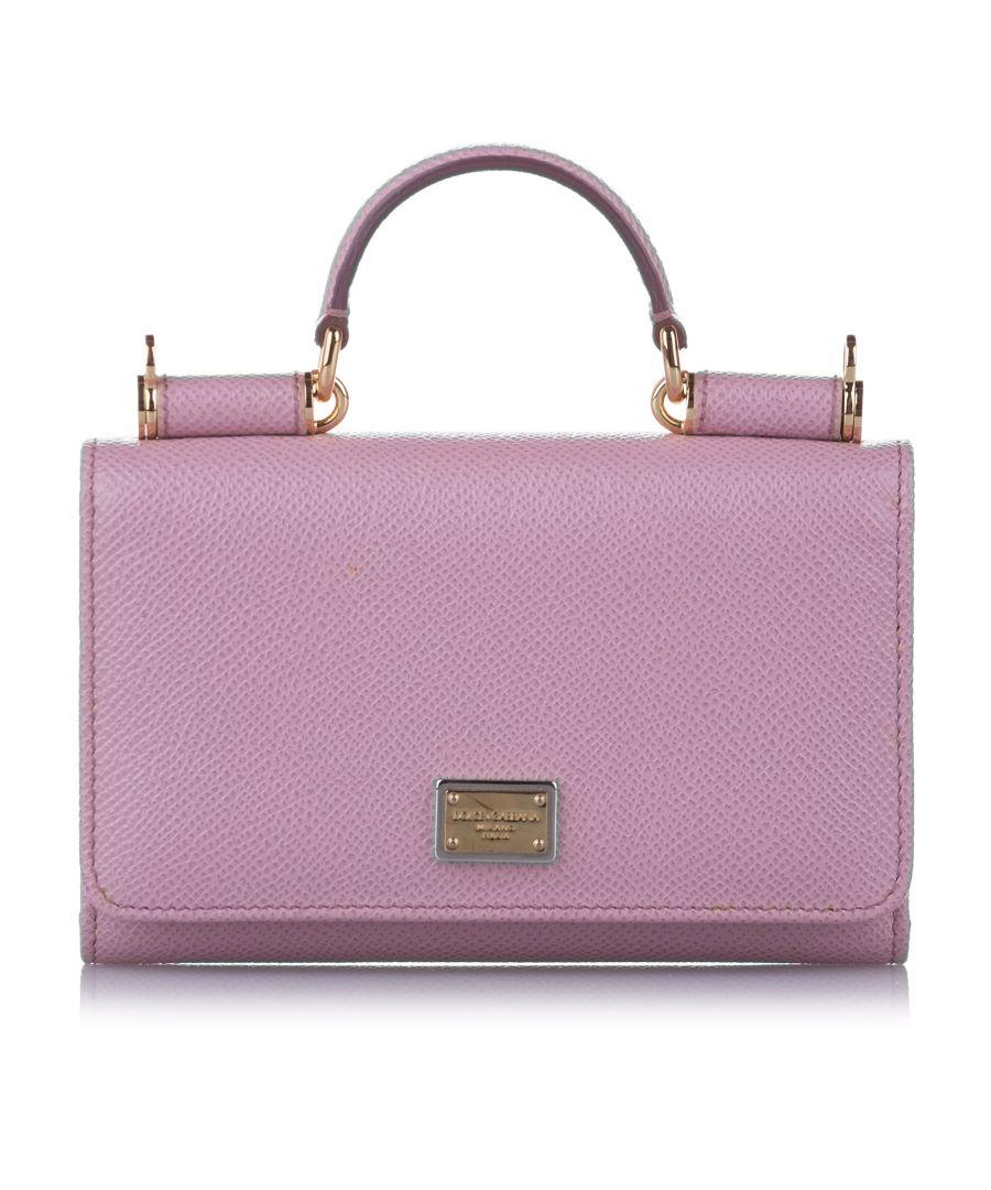 Image for Vintage Dolce&Gabbana Mini Sicily Von Leather Crossbody Bag Pink