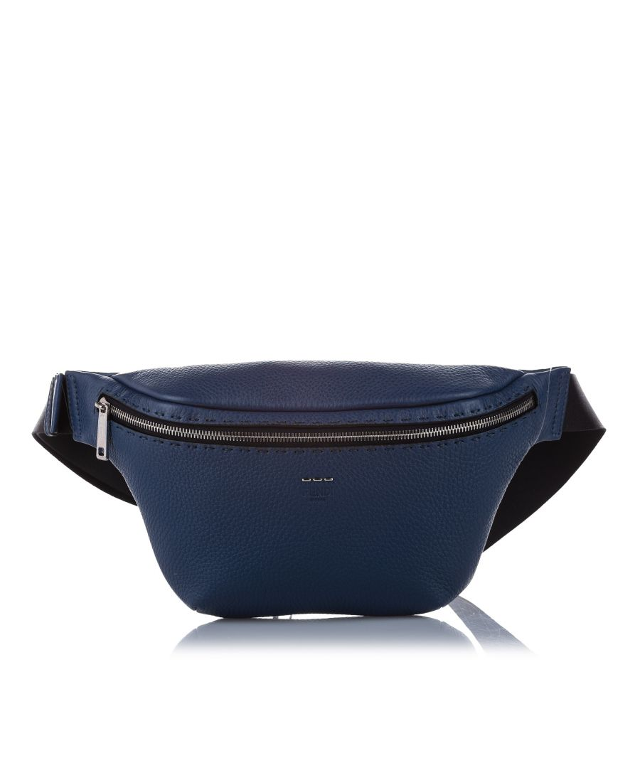 Image for Vintage Fendi Romano Leather Belt Bag Blue