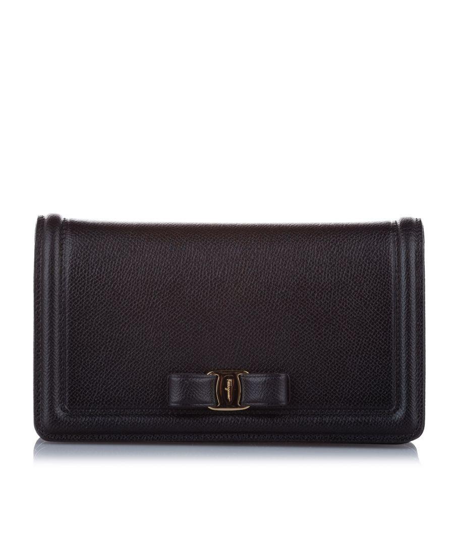 Image for Vintage Ferragamo Vara Ginny Leather Crossbody Bag Black