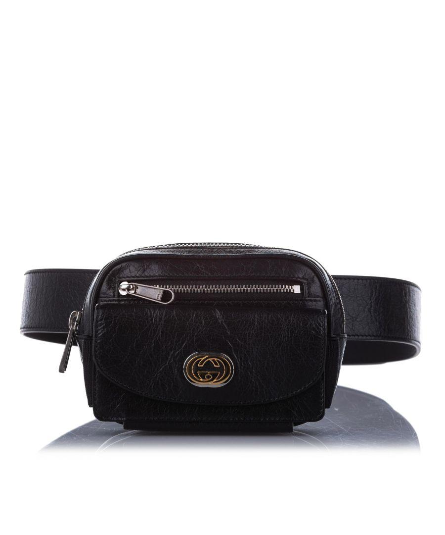 Image for Vintage Gucci Interlocking G Leather Belt Bag Black
